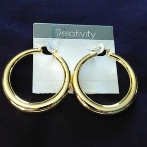 Relativity polished gold hoops